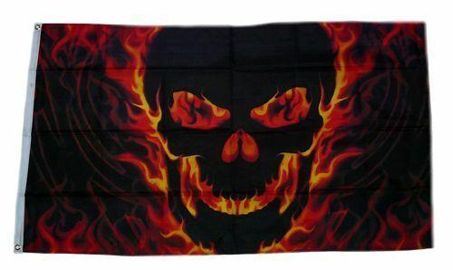 Bandiera//bandiera TESCHIO FUOCO SKULL hissflagge 90 x 150 cm