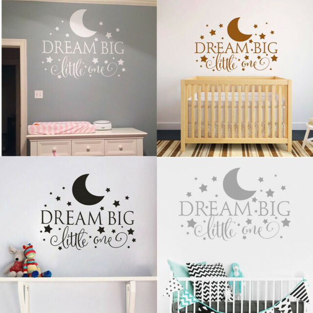 """Removable /""""Dream Big Little One/"""" Wall Sticker Decal Quote Nursery Bedroom Decor"""