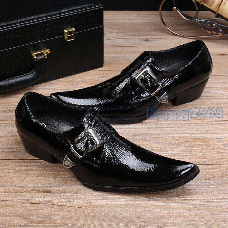 popolare Men Leather Buckle Strap nero Business British British British Style Wedding Dress scarpe casual  prezzo ragionevole