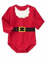 Gymboree Holiday Shop Red White Santa Bodysuit Top Sz: 12-18 Mos