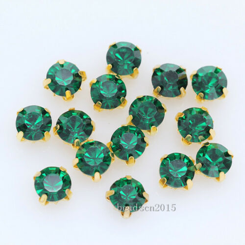 36p 8mm ss38 faceted glass crystal sew on diamante rhinestone Montees gold plate