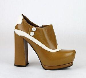 1150-New-Authentic-Bottega-Veneta-Leather-Platform-Heel-Boot-Brown-331387-8712