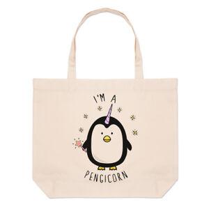 I-039-m-A-Pengicorn-Large-Beach-Tote-Bag-Penguin-Unicorn-Funny-Shopper-Shoulder