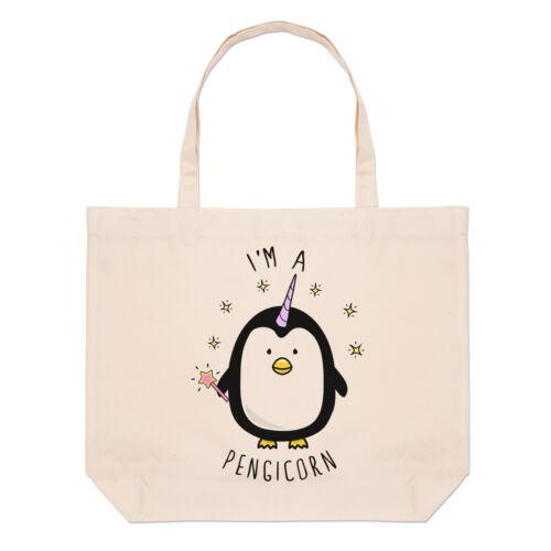 I/'m A Pengicorn Large Beach Tote Bag Penguin Unicorn Funny Shopper Shoulder