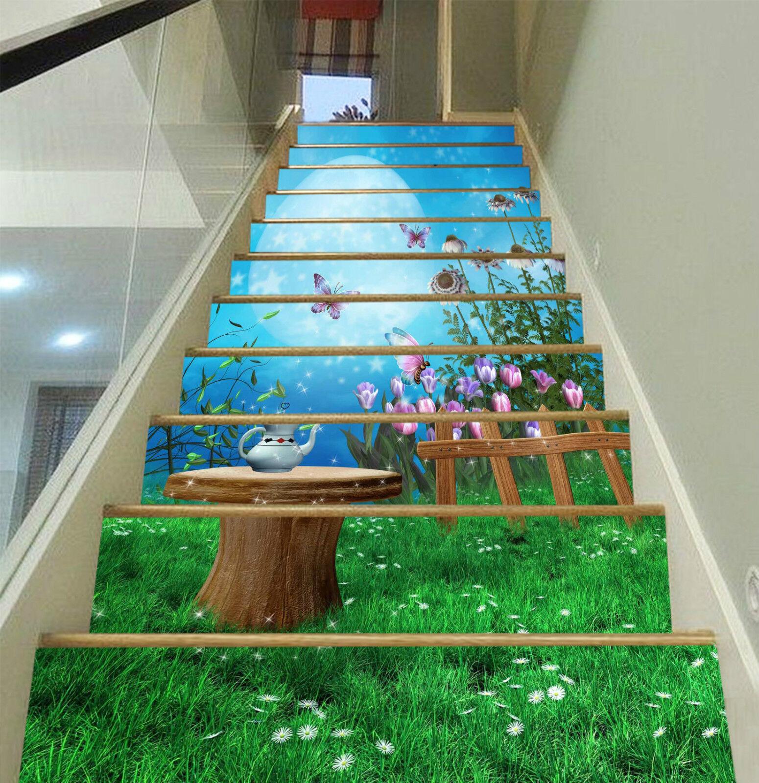 3D Garten Nacht 016 Stair Risers Dekoration Fototapete Vinyl Aufkleber Tapete DE