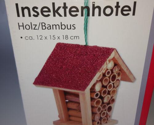 Bambus Insktenhaus Rotes Dach 12 x 15 x 18 cm zum Hängen Insektenhotel Holz