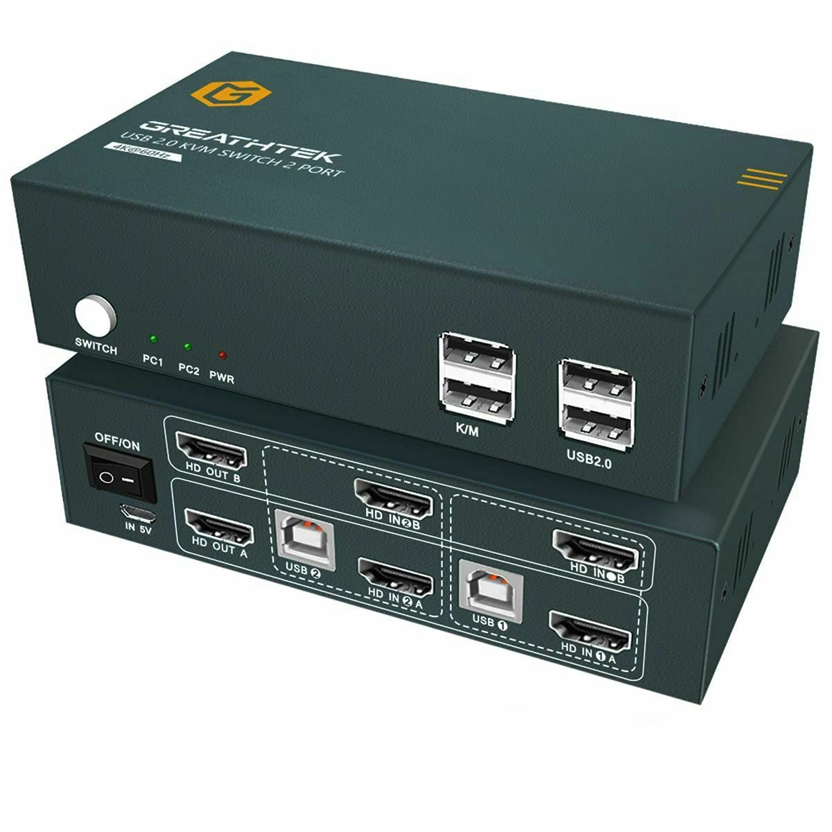 HDMI 2.0 KVM Switch Dual Monitor 2 Port 4K, 4K @ 60Hz, USB 2.0, 2 PC 2 Monitor