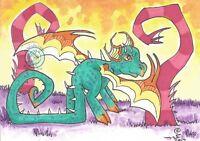 Cartoon teal Dragon big eye Original lowbrow fantasy ACEO Illustration art ejw