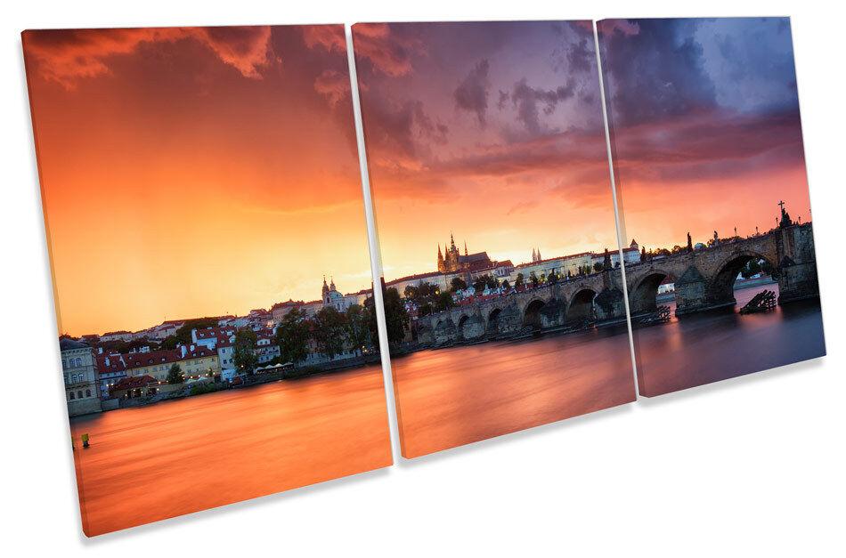 Charles Bridge Prague Sunset Picture CANVAS WALL ART TREBLE Print