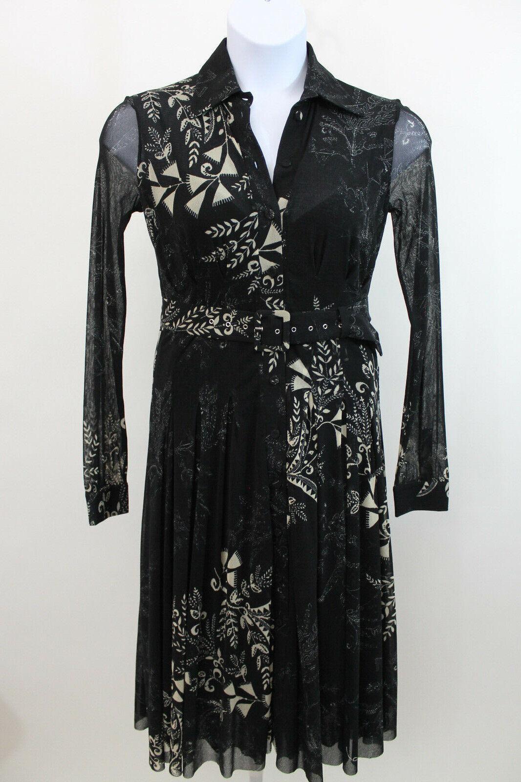 Fuzzi Schwarz Weiß Blaumenmuster Shirt Kleid Sz L J49)