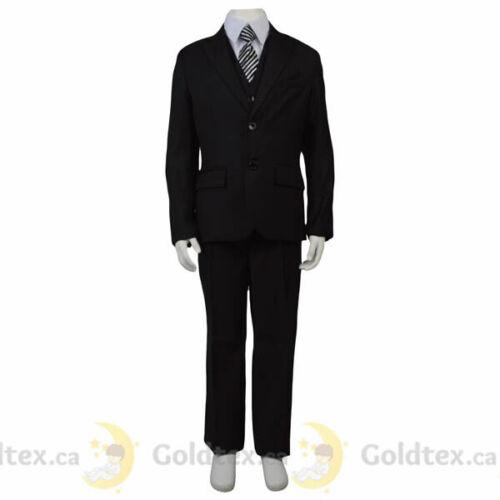 Boys Communion Wedding 2-18 Confirmation 5 Piece Black Formal Suit