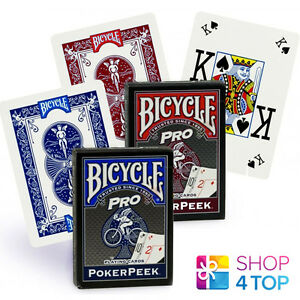 2 DECKS BICYCLE PRO POKER PEEK INDEX PLAYING CARDS MAGIC TRICKS BLUE RED NEW