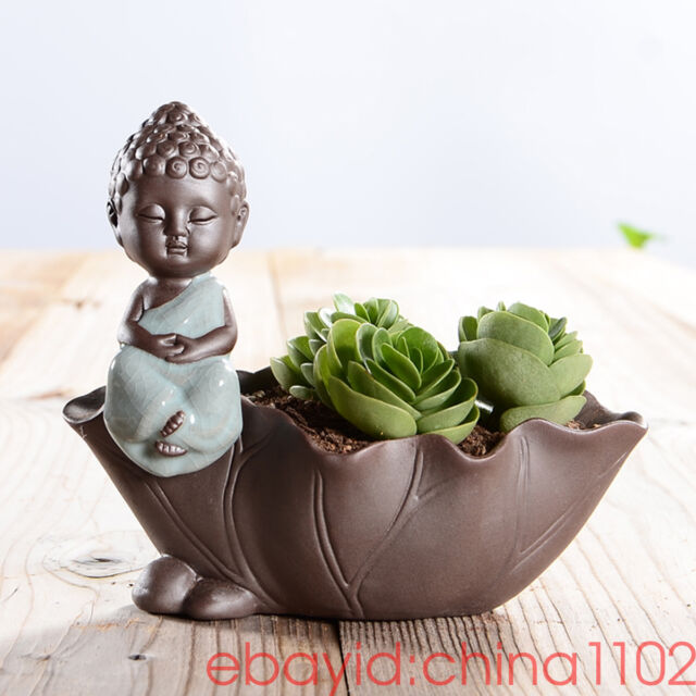Ceramic Lotus leaf Buddha Cart Cacti Succulent Plant Pot Flower Planter