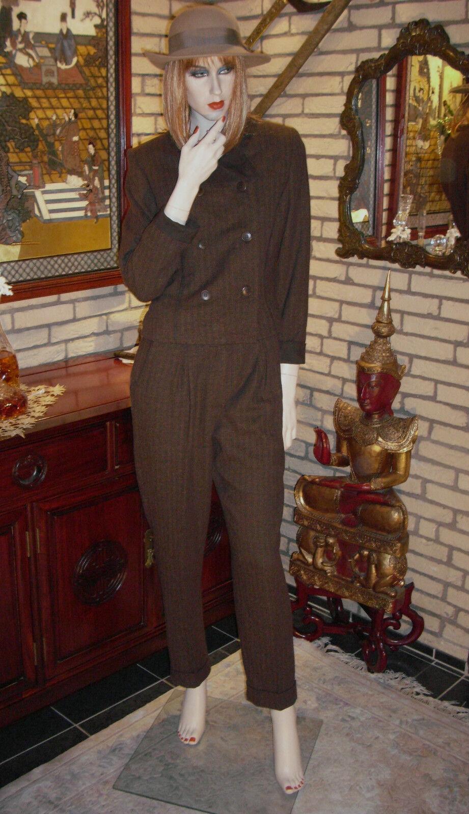 Pantaloni vestito tg. tg. tg. 36 Marronee mélange bianco 3 pezzi ALCANTARA Class elegante giacca pantaloni rock 106862