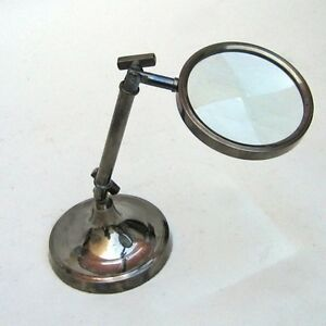 9 brass magnifying glass on stand antique finish vintage