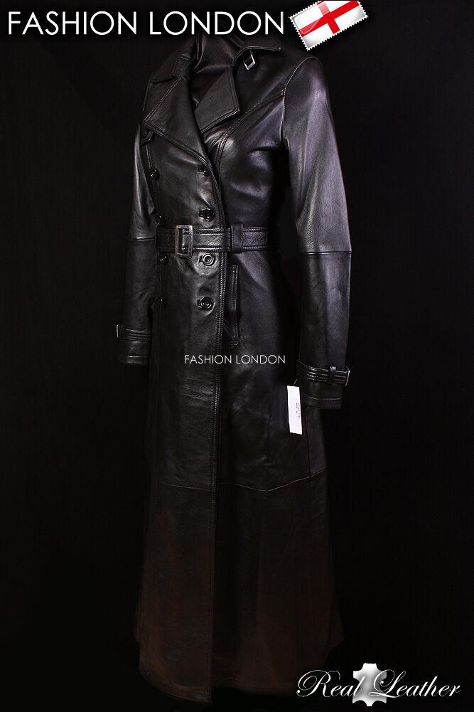 Venecia señoras abrigo Trench De  Longitud Completa De Cuero delgada Saco Abrigo Largo Con Cinturón Negro  diseño único