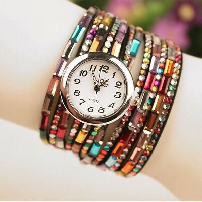 Hot Womens Multilayer Leather Strap Rhinestone Beads Quartz Bracelet Wrist Watch