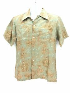 Double Red Horse Short Sleeve 100% Silk Button Up Shirt Mens Medium Regular VTG