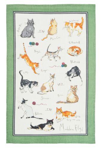 """/""""les Chats/"""" par Madeleine Floyd pur lin imprimé Thé Serviette Ulster Weavers"""