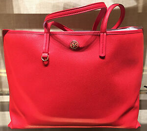 d64a2e51ffd Image is loading Tory-Burch-Vermillion-Large-Coated-Canvas-Cameron-Tote-