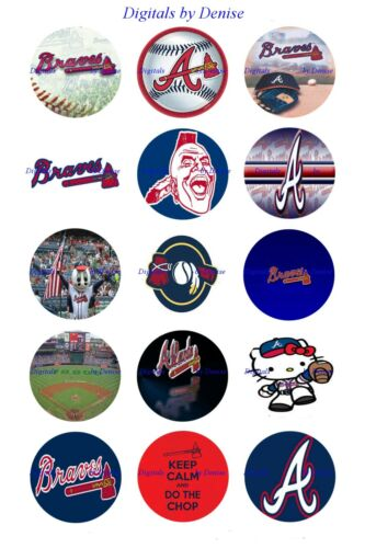 "$2.45-$5.50  ***FREE SHIPPING*** ATLANTA BRAVES 1/"" CIRCLES  BOTTLE CAP IMAGES"