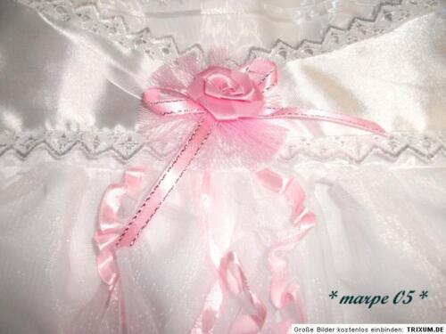 Hut,Schuhe 3 teilig weiß //Rosa mit Spitze ca.Größe 74-80 Taufkleid