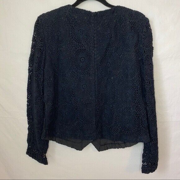 E. Claire Blue Knit Beaded Long Sleeves Button Do… - image 5