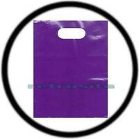 100 Qty Purple 12 X 15 Low Density Glossy Merchandise Plastic Bags W/ Handles