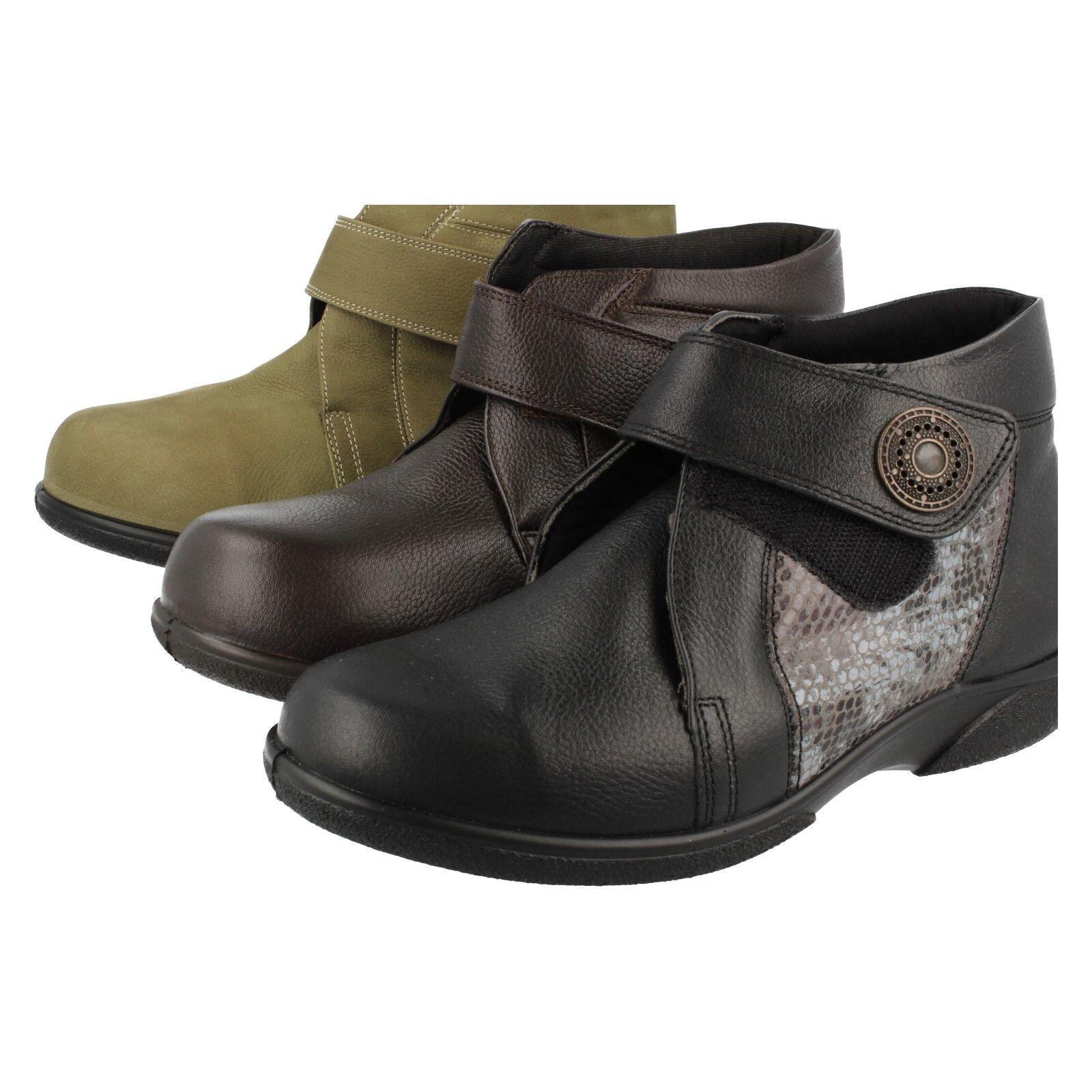 Ladies Easy B Black,Snake   Brown   Olive Nubuck Leather Ankle Boot Doris