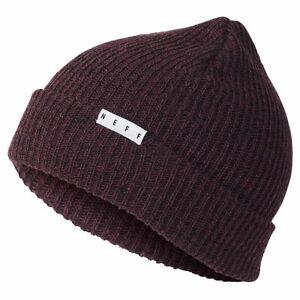 Neff-Men-039-s-Fold-Heather-Beanie-Sangria-Black-Burgundy-Headwear-Cold-Snow-Winter