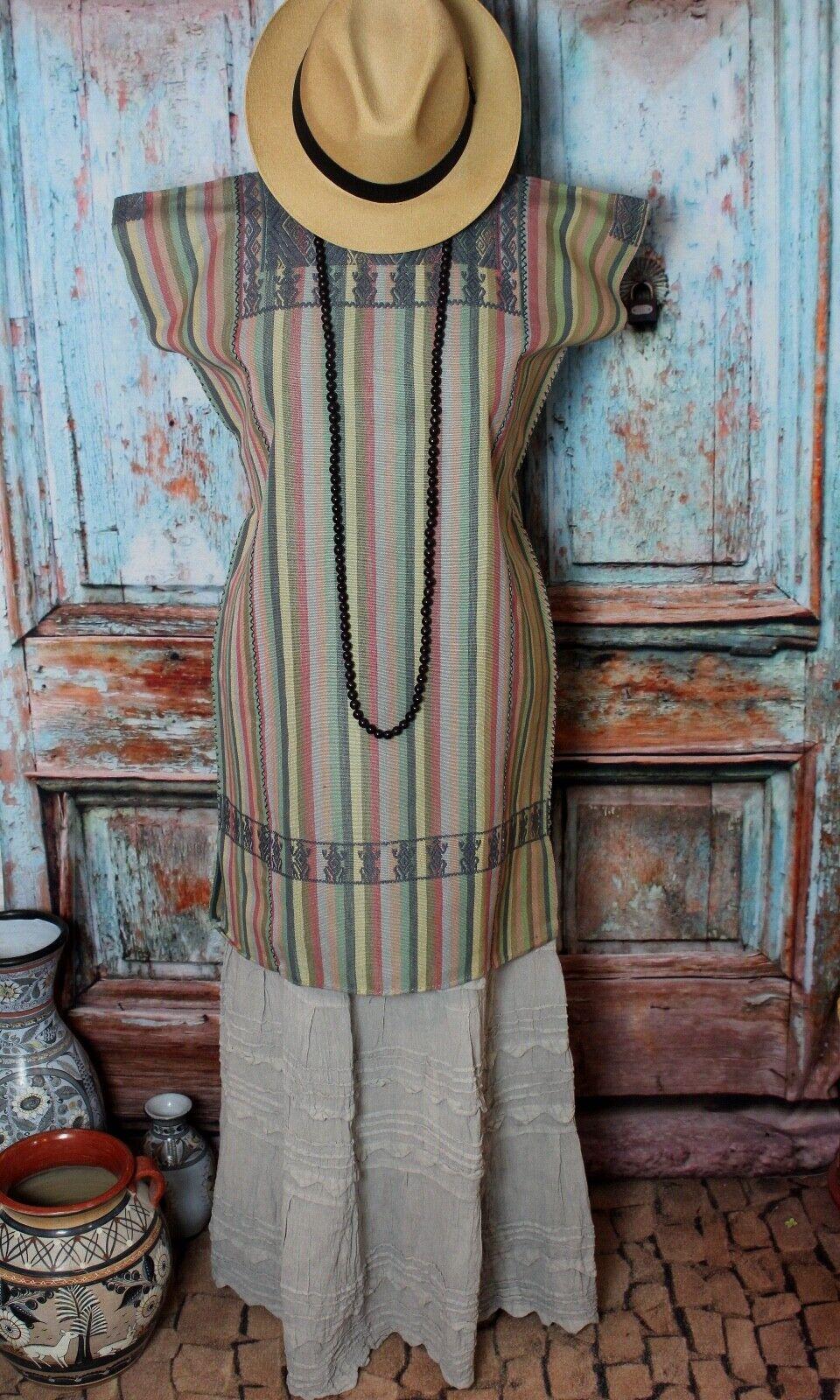 Huipil Short Dress Handwoven Gray & Earth Tones Larrainzar Mayan Chiapas Mexico