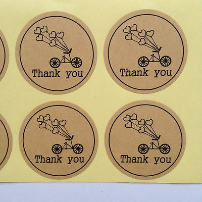 48x Thank You Bicycle Heart Balloon Stickers
