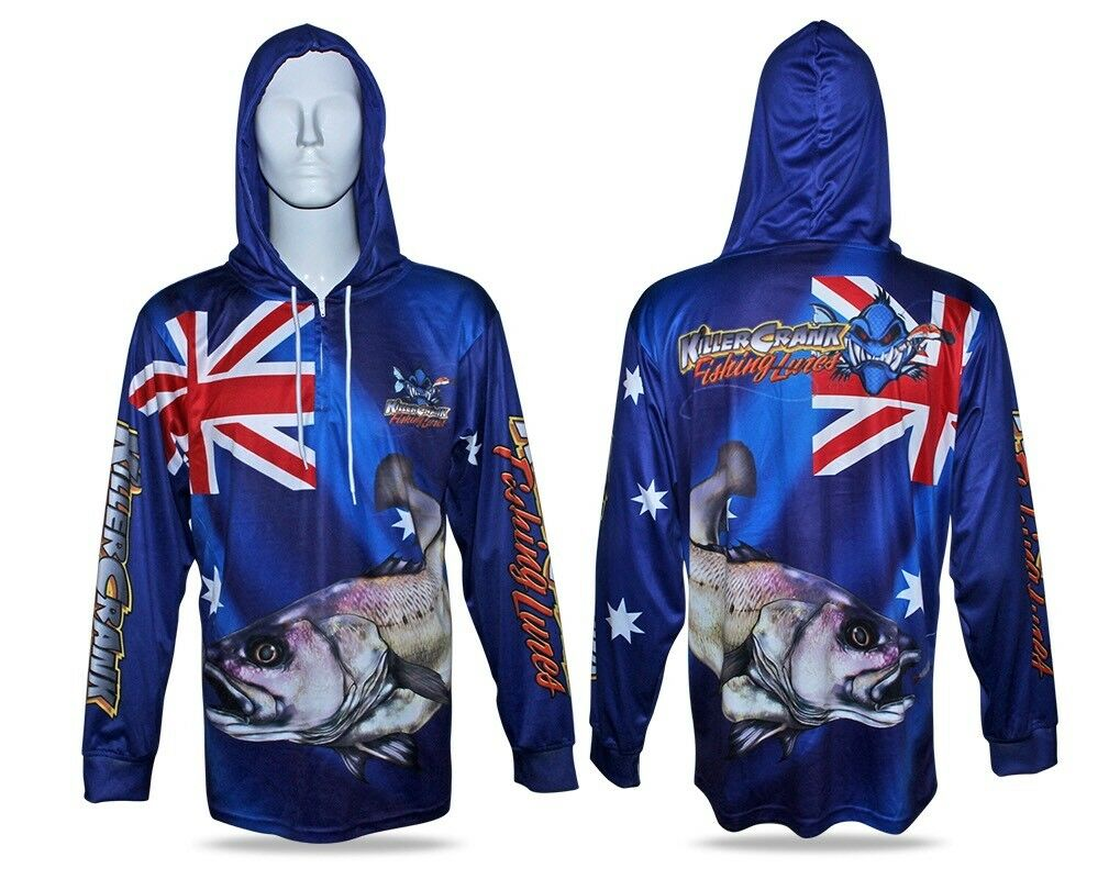 Australia Day Jewfish Hooded Fishing Shirt Mens XS Up To 3XL + Kids 6,8,10,12
