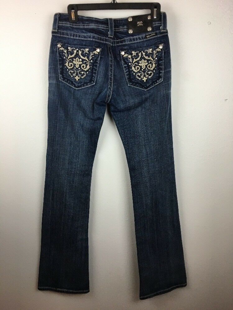 Miss Me Womens Jeans 28 Boot Cut Metallic Embellished Studs Versailles JP5395B3