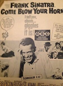 59101 1963 Ephemera Advert Frank Sinatra Come Blow Your Horn - Leicester, United Kingdom - 59101 1963 Ephemera Advert Frank Sinatra Come Blow Your Horn - Leicester, United Kingdom