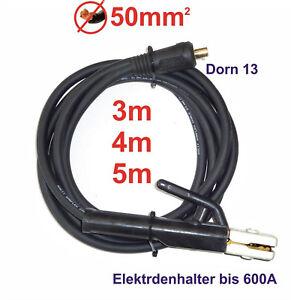 50mm² 3m // 4m // 5m Dorn 13mm 500A Masseklemme Massekabel Schweißkabel