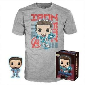 Iron-Man-Glow-GITD-Endgame-Funko-Pop-Vinyl-Large-T-Shirt-New-in-Box