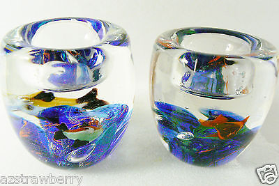 Set of 2 Candle holders Paperweights Clear Blue Orange Fish Bowl Aqarium Water