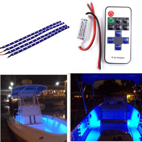 12'' 12V Waterproof Blue 700K 15LED Boat Bow Pontoon Flexible Light Bar Strip