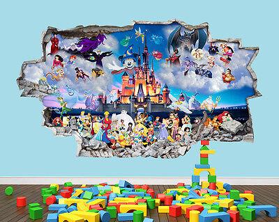 Disney Castle Fairy Hero Nursery Boys Girls Kids Room Wall Decal 3D Art Stickers