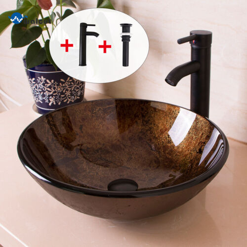 Bathroom Round Glass Vessel Sink W//Oil Rubbed Bronze Faucet /& Pop-up Drain Combo