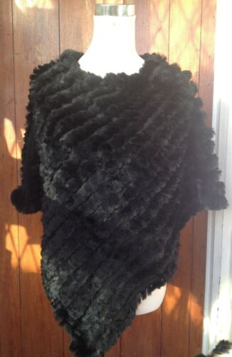 jet black real genuine rabbit fur hand knitted poncho cape shawl scarf top