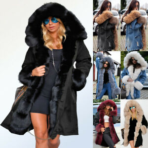 Plus Size Women Vintage Winter Fur Hooded Coat Warm Long Sleeve Jacket Coats UK