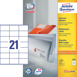 2-100-Avery-Zweckform-Etiquetas-3481-Blanco