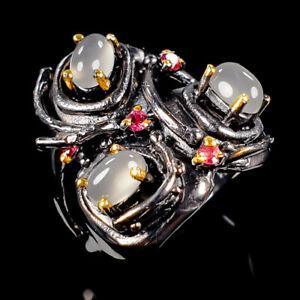 Vintage-Natural-Moonstone-925-Sterling-Silver-Ring-Size-8-5-R112919