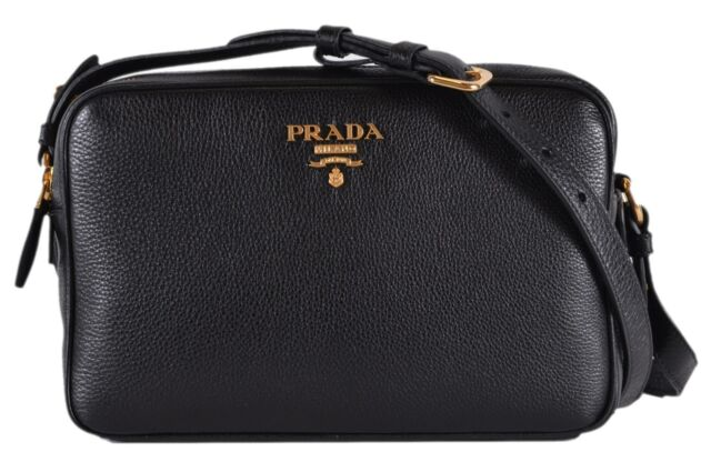 d9db229448d4 New Prada 1BH079 Black Vitello Phenix Leather Bandoliera Double Zip Purse  Bag