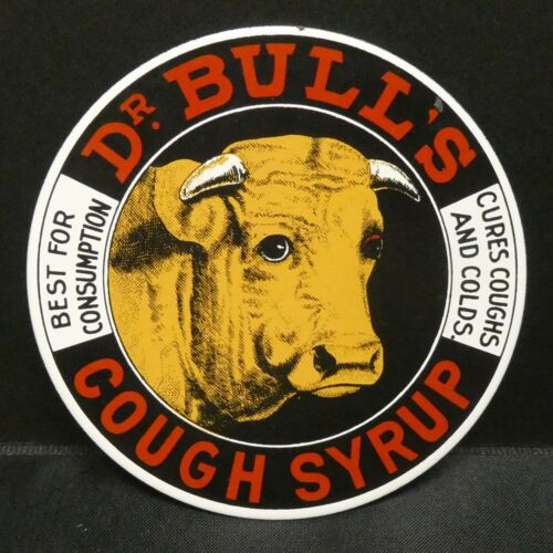 """BULL/'S COUGH SYRUP 2 5//8/"""" Dollhouse Miniatures Metal Sign Advertising DR"""