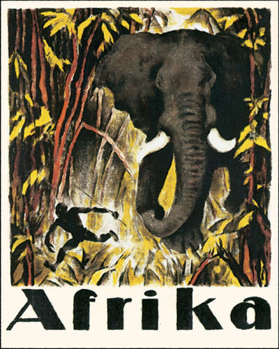 POSTER AFRICA AFRICAN ELEPHANT JUNGLE TRAVEL TOURISM VINTAGE REPRO FREE S//H