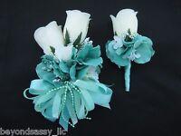 Wedding Prom Auqa Mint Green Rose Flower Wrist Corsage Or W/ Boutonniere Set