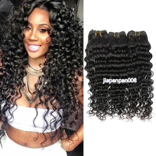 Deep Wave Human Hair Extensions 3 Bundles 150g Peruvian Virgin Hair 8 to 30 Inch